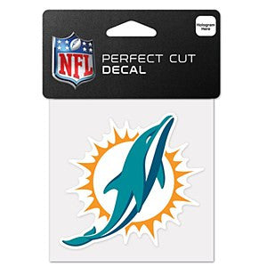 "Miami Dolphins NFL Football 4"" x 4"" Decal - Dynasty Sports & Framing"