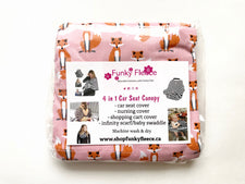 Pink Fox Print -Copy of 4 in 1 Car Seat Canopy
