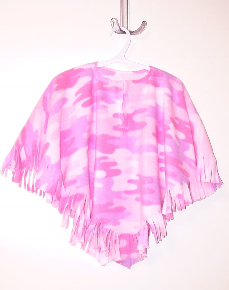 Pink Camo Big Kid Poncho