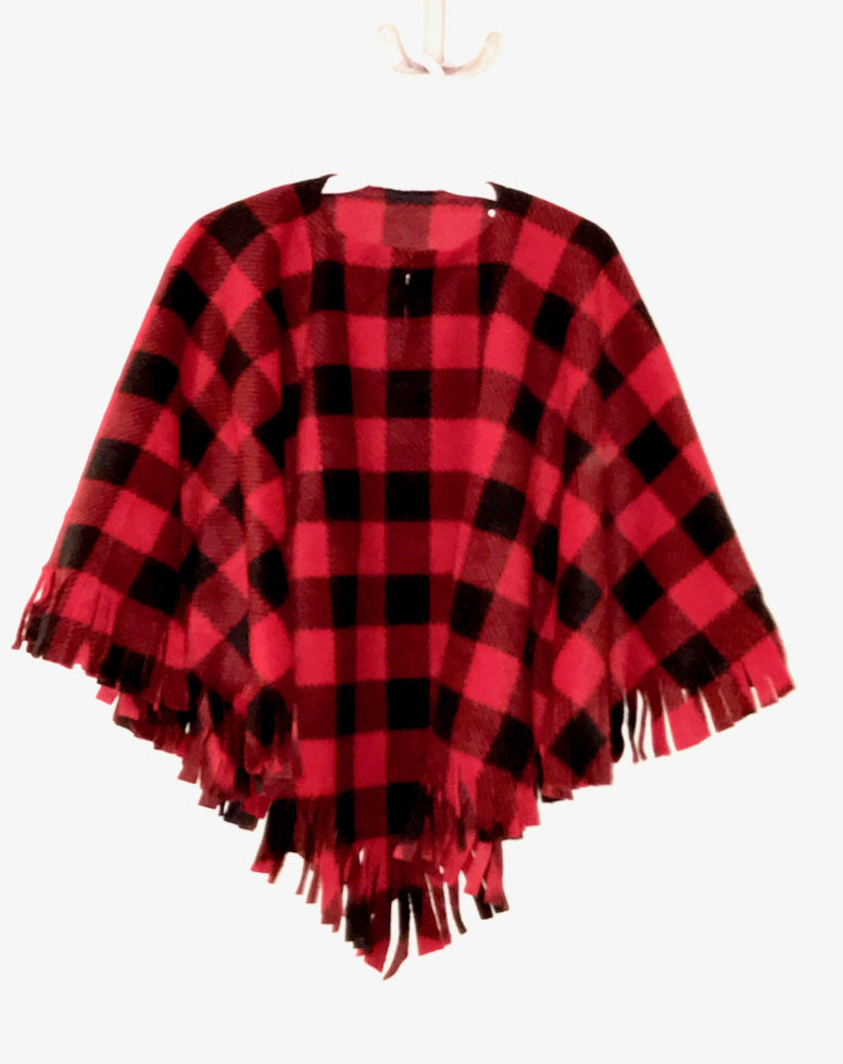 Red Buffalo Check Toddler Poncho