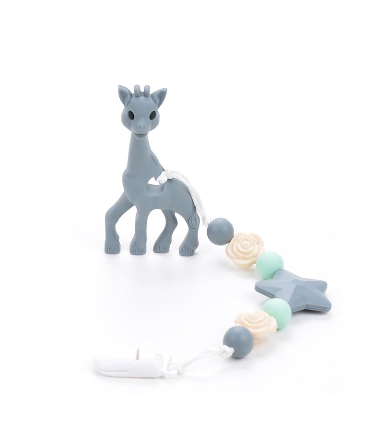 Gray Giraffe Teething Clip