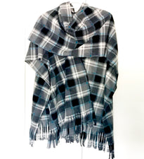 Gray/Teal Plaid Ladies Wrap