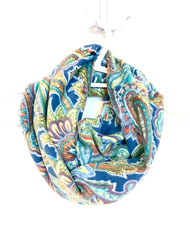Teal Paisley Infinity Scarf