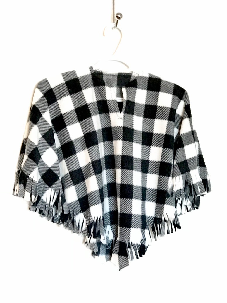 Black & White Buffalo Check Little Kid Poncho