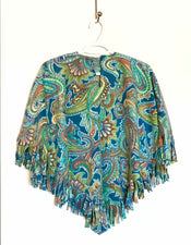 Teal Paisley Big Kid Poncho