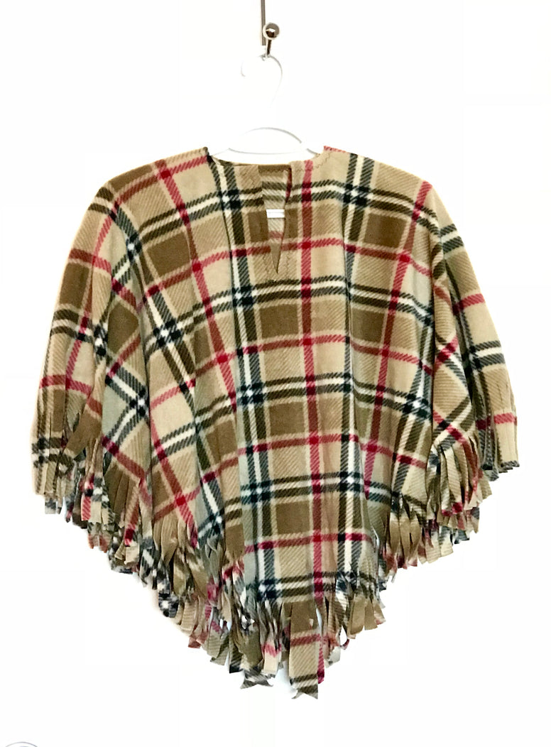 Tan London Plaid Little Kid Poncho