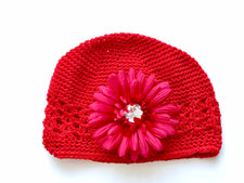 Red Gem Flower Kids Hat