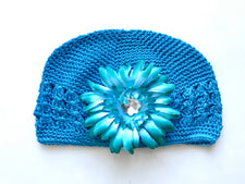 Turquoise Gem Flower Kids Hat