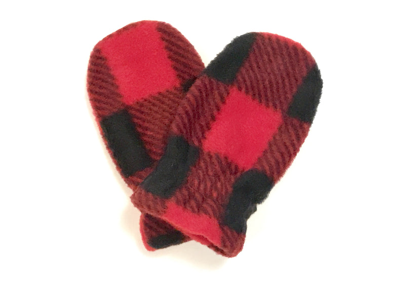 Red Buffalo Check Baby Mitts