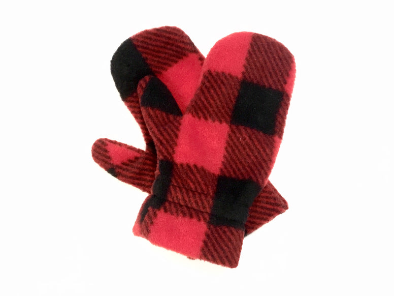 Red Buffalo Check Toddler Mitts