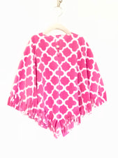 Hot Pink Quatrefoil Big Kid Poncho