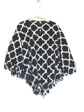 Black & White Quatrefoil Little Kid Poncho