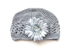 Grey Gem Flower Kids Hat