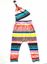 Vibrant Stripe Baby Harem Pants & Knot Hat Set