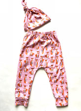 Pink Fox Toddler Harem Pants & Knot Hat Set