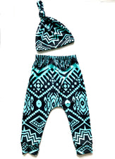 Turquoise/Black Baby Harem Pants & Knot Hat Set