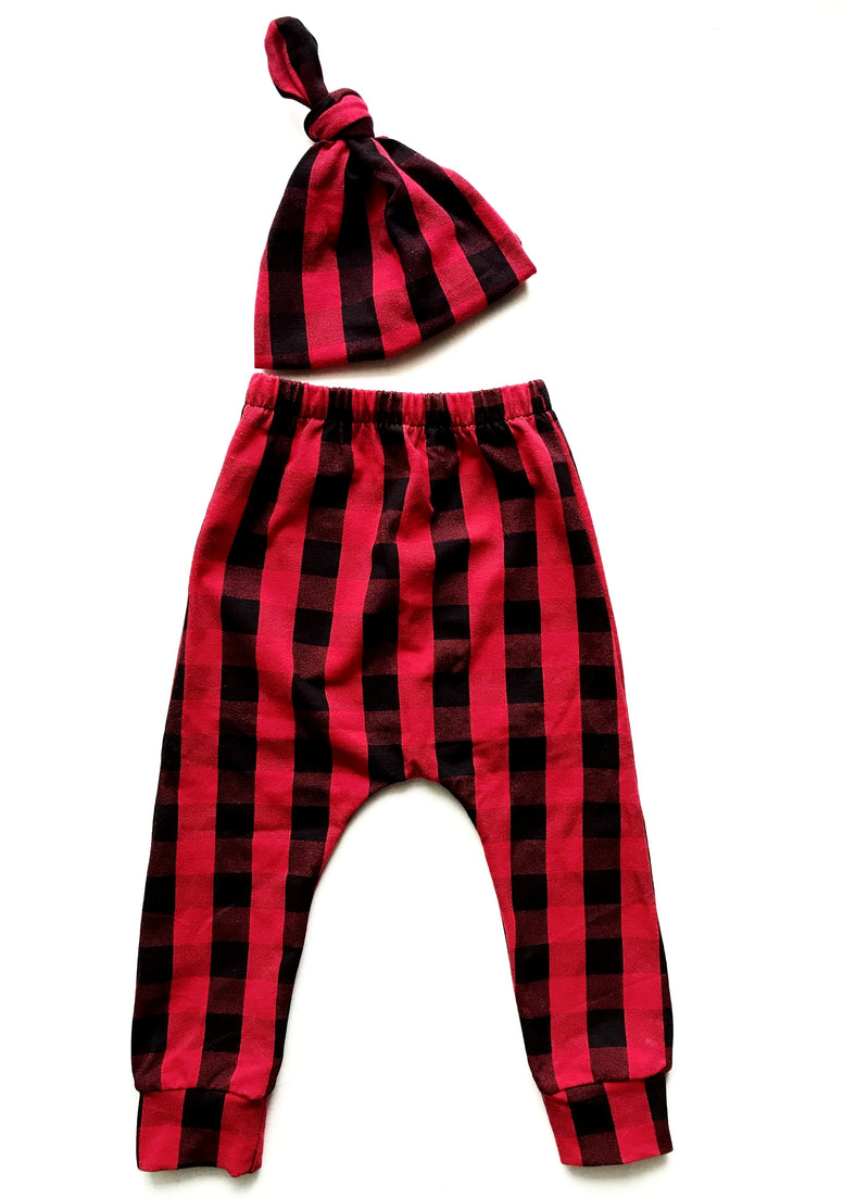 Red Buffalo Check Baby Harem Pants & Knot Hat Set