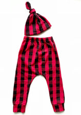 Buffalo Check Toddler Harem Pants & Knot Hat Set