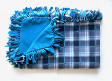 Gray Teal Plaid Large Blanket