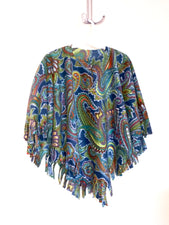 Teal Paisley Little Kid Poncho