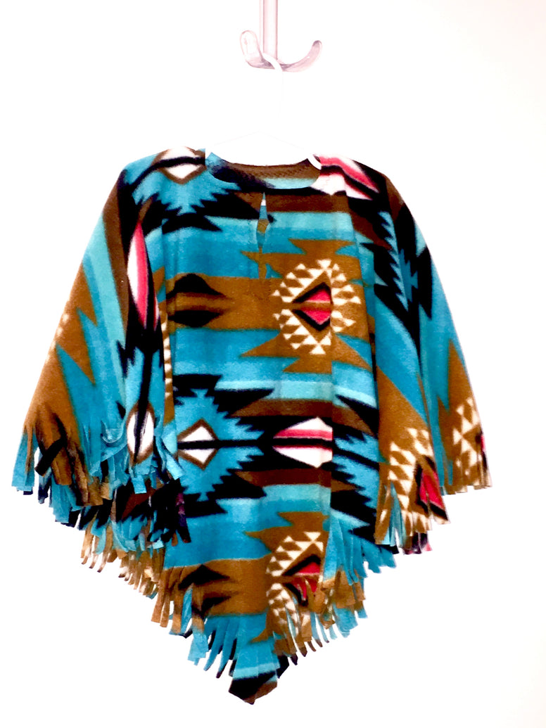 Teal Navajo Big Kid Poncho