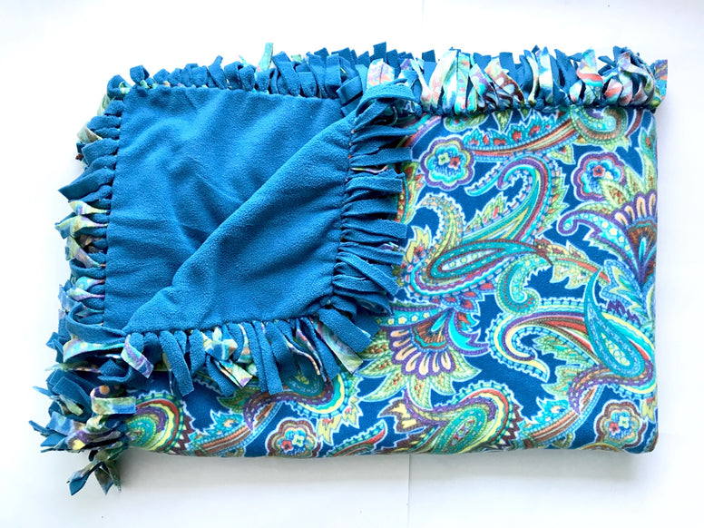 Teal Paisley Large Blanket