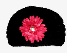 Black/Hot Pink Gem Flower Kids Hat