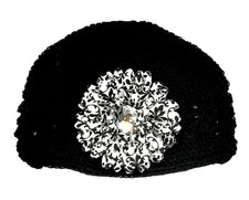 Black/Damask Gem Flower Kids Hat