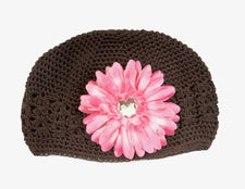 Brown/Soft Pink Gem Flower Kids Hat
