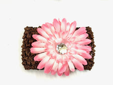 Brown/Soft Pink Gem Flower Headband