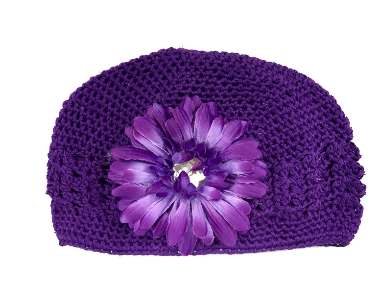 Dark Purple Flower Gem Flower Kids Hat