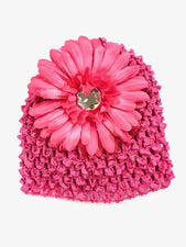Hot Pink Flower Gem Flower Baby Hat