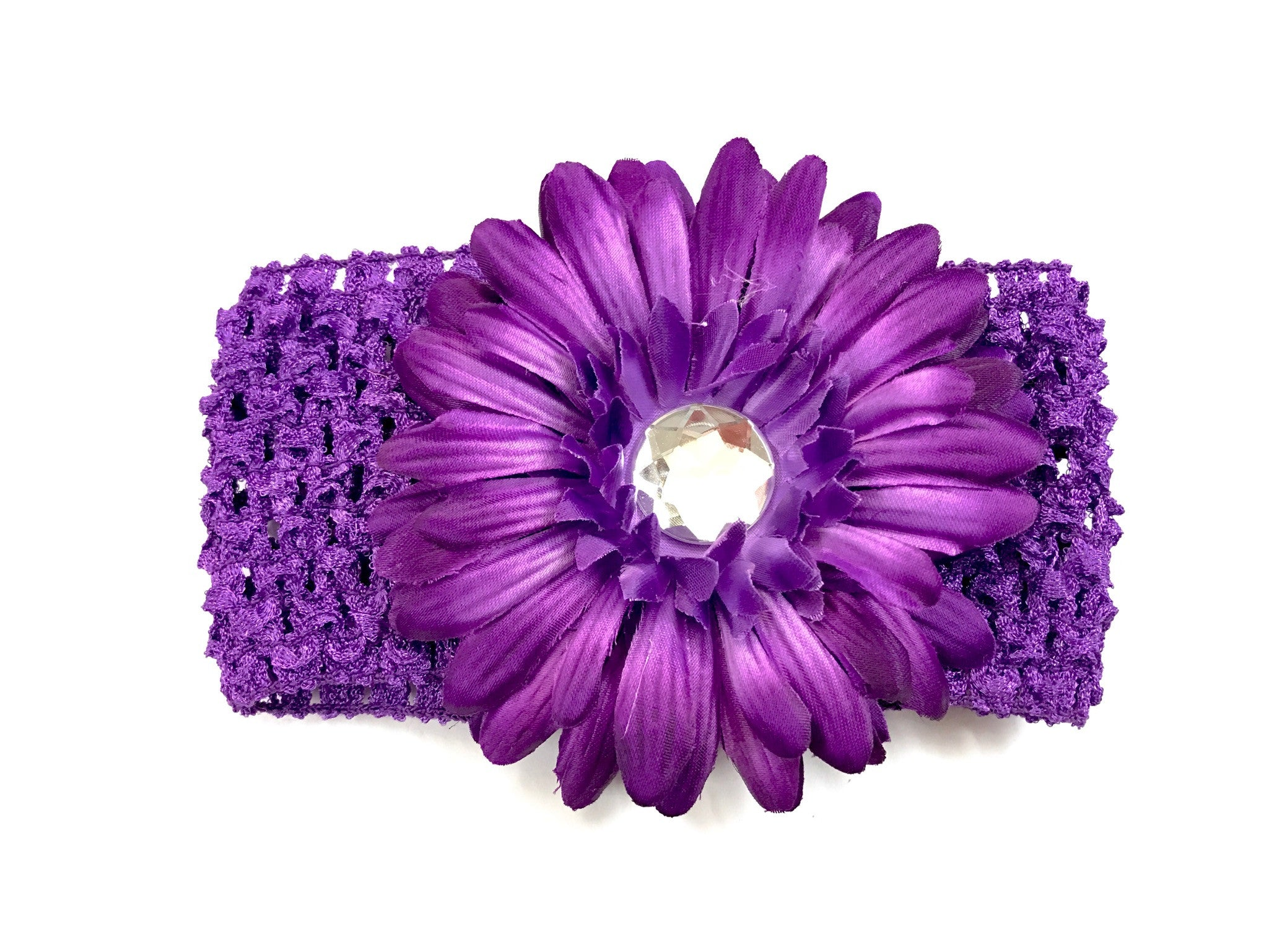 Dark Purple Flower Gem Flower Headband Funky Fleece