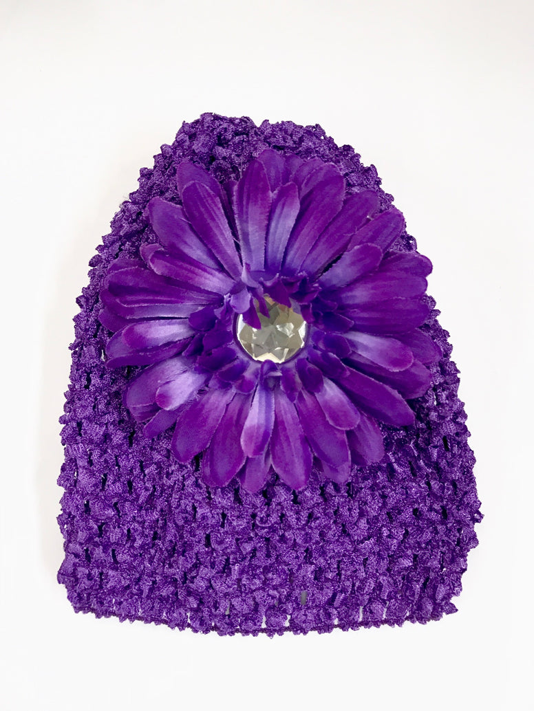 Dark Purple Flower Gem Flower Baby Hat