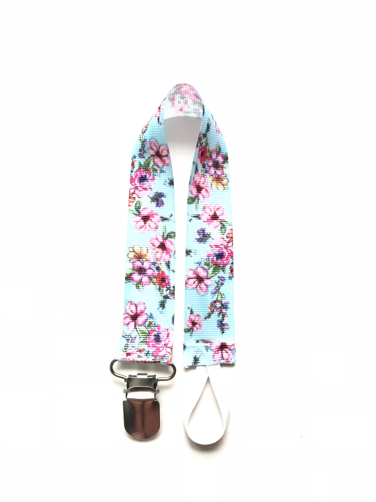 Blue Floral Soother & Toy Leash