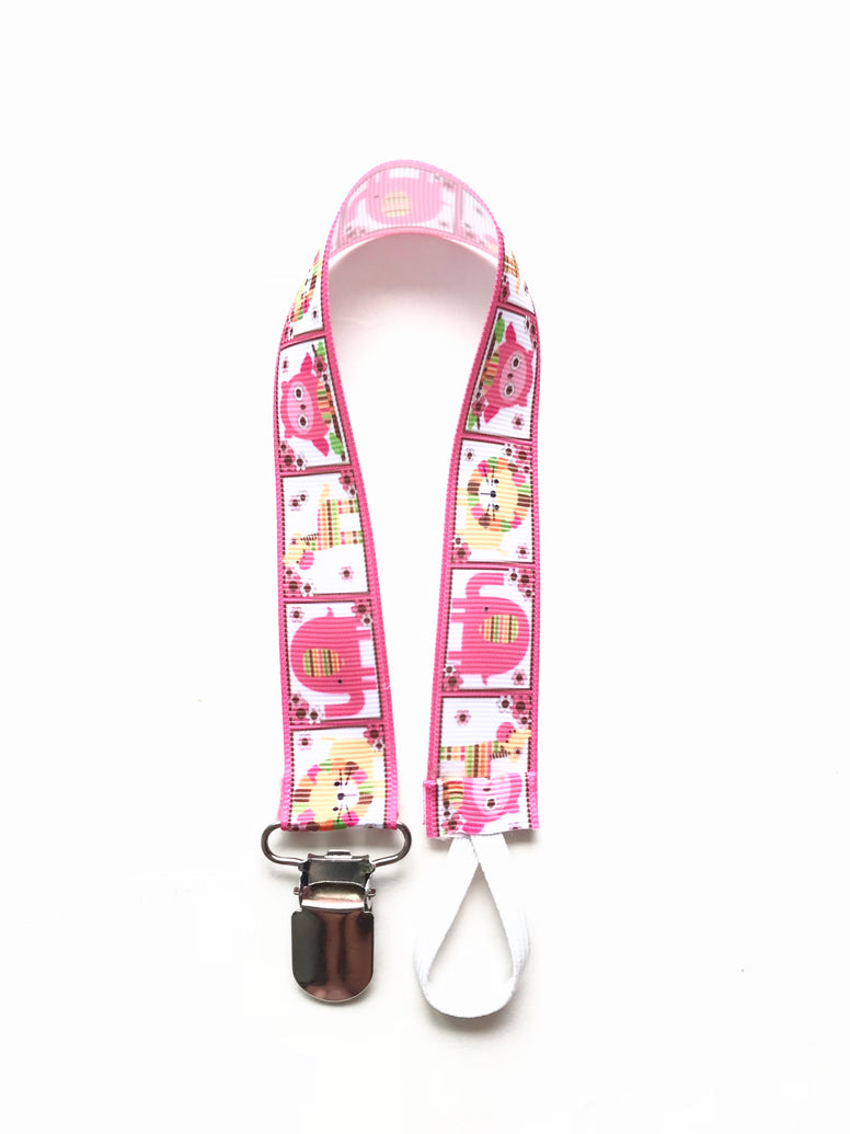 Pink Giraffe Elephants Zoo Animals  Soother & Toy Leash