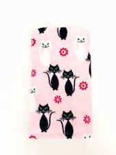 Black Cat Pink Stroller Blanket