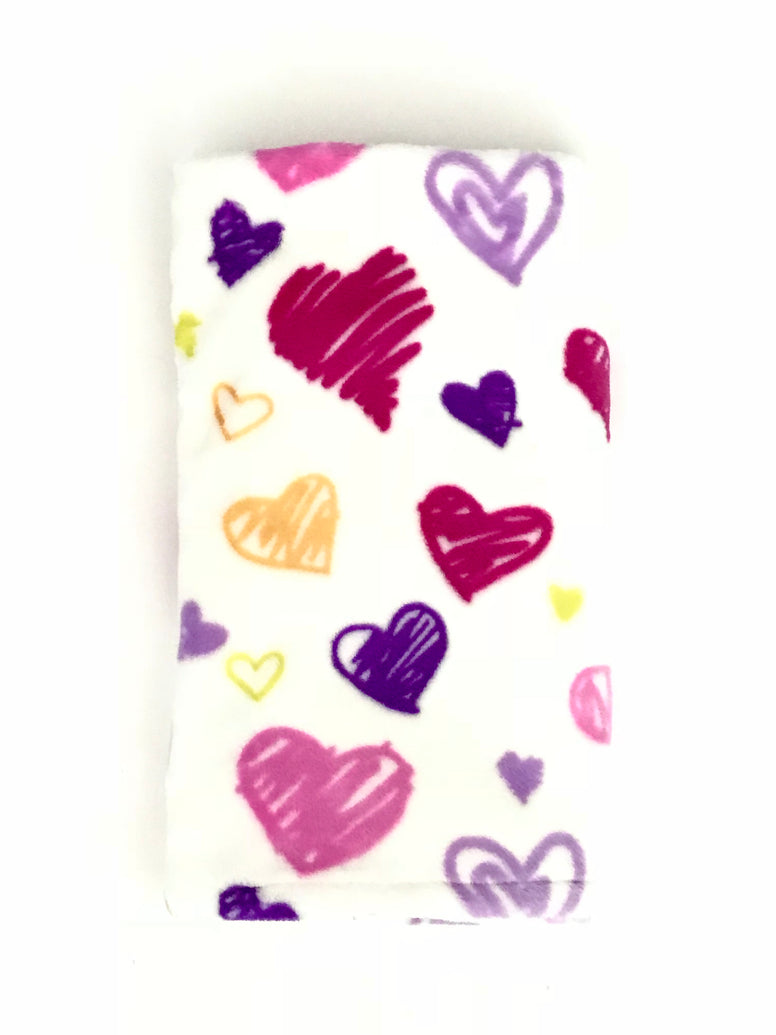 Pink Purple Hearts Stroller Blanket