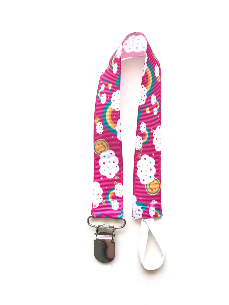 Hot Pink Rainbow Clouds Soother & Toy Leash