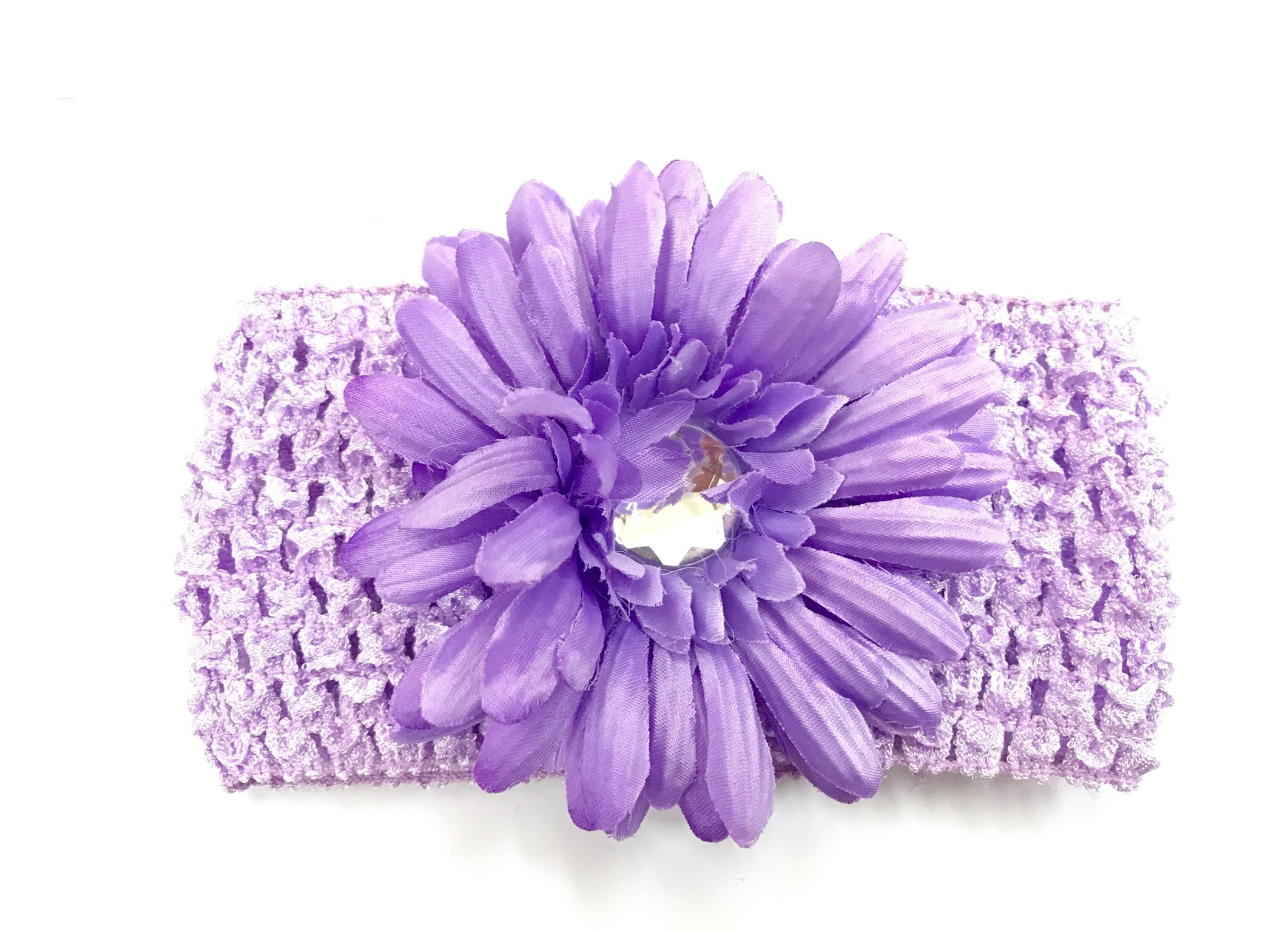 Lavender Flower Gem Flower Headband Funky Fleece