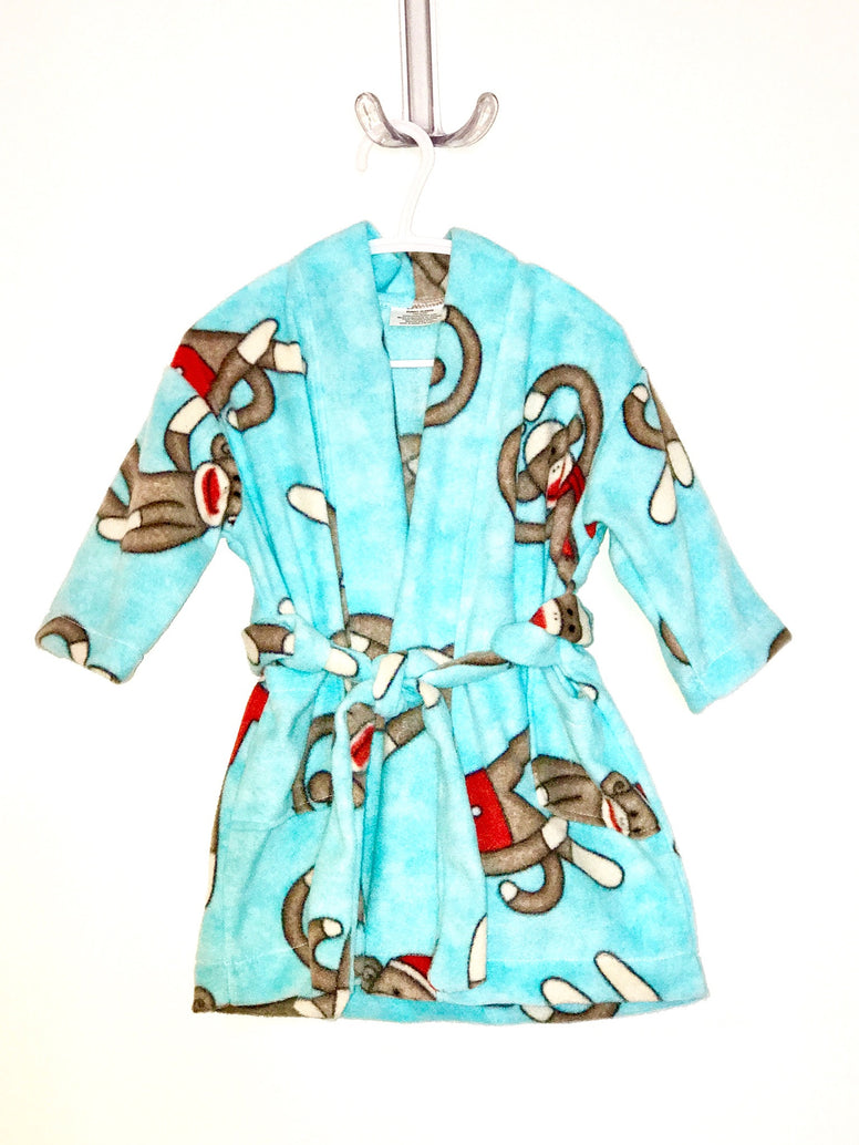 Sock Monkey Big Kids Bath Robe
