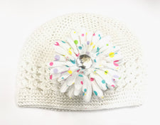 White/White Polka Dots Gem Flower Kids Hat
