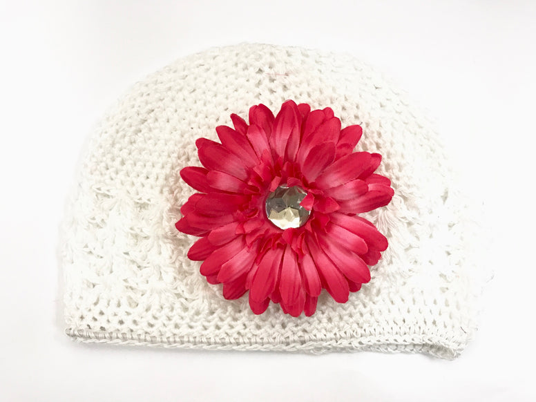 White/Hot Pink Gem Flower Kids Hat