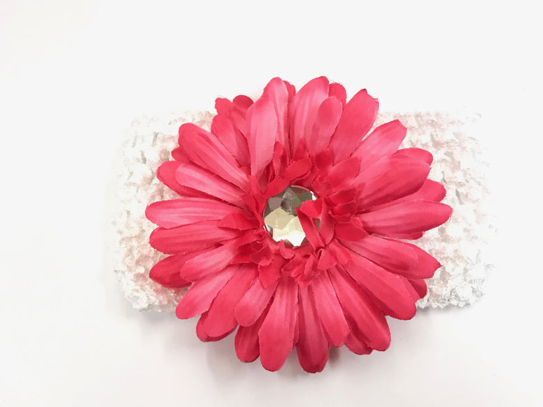White/Hot Pink Gem Flower Headband