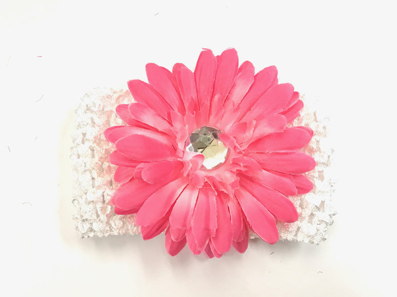 White/Soft Pink Gem Flower Headband