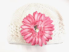 White/Soft Pink Gem Flower Kids Hat