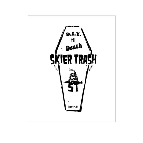 "D.I.Y. til Death™ Coffin Sticker - 4"" x 5.5"""