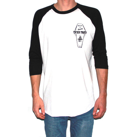 D.I.Y. TIL DEATH™ COFFIN RAGLAN TEE - WHITE/BLACK