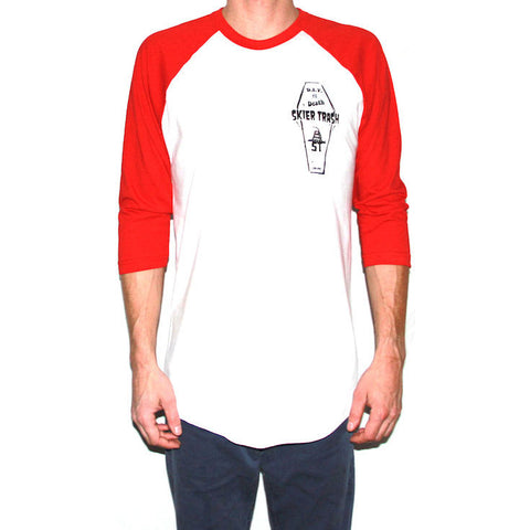 D.I.Y. TIL DEATH™ COFFIN RAGLAN TEE - WHITE/RED