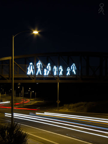 Stick people on bridge
